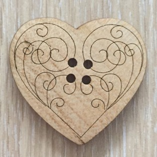 BUTTON - WOODEN HEART LARGE 2